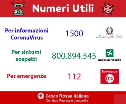 Numeri utili per CoronaVirus